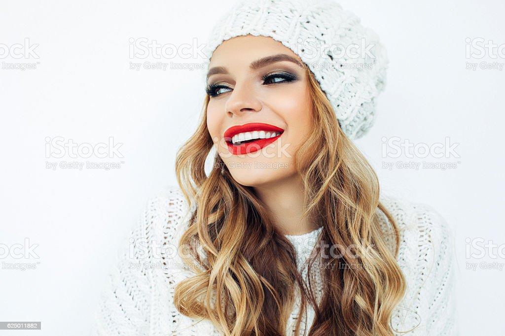 Woman wearing hat stock photo