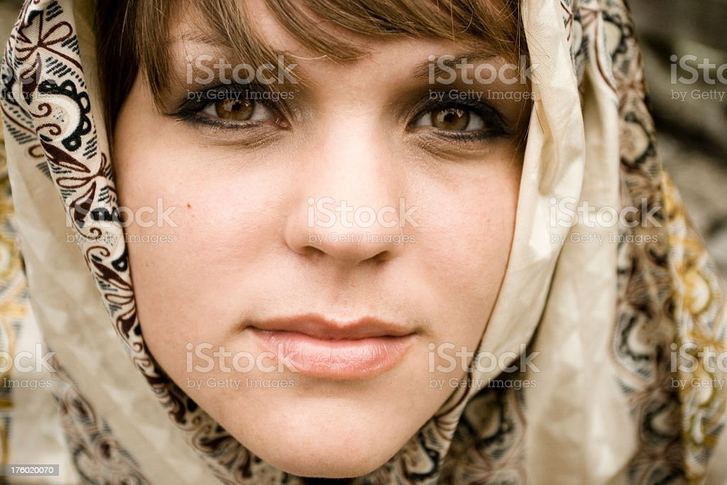 Woman Wearing Head Covering royalty-free stock photo