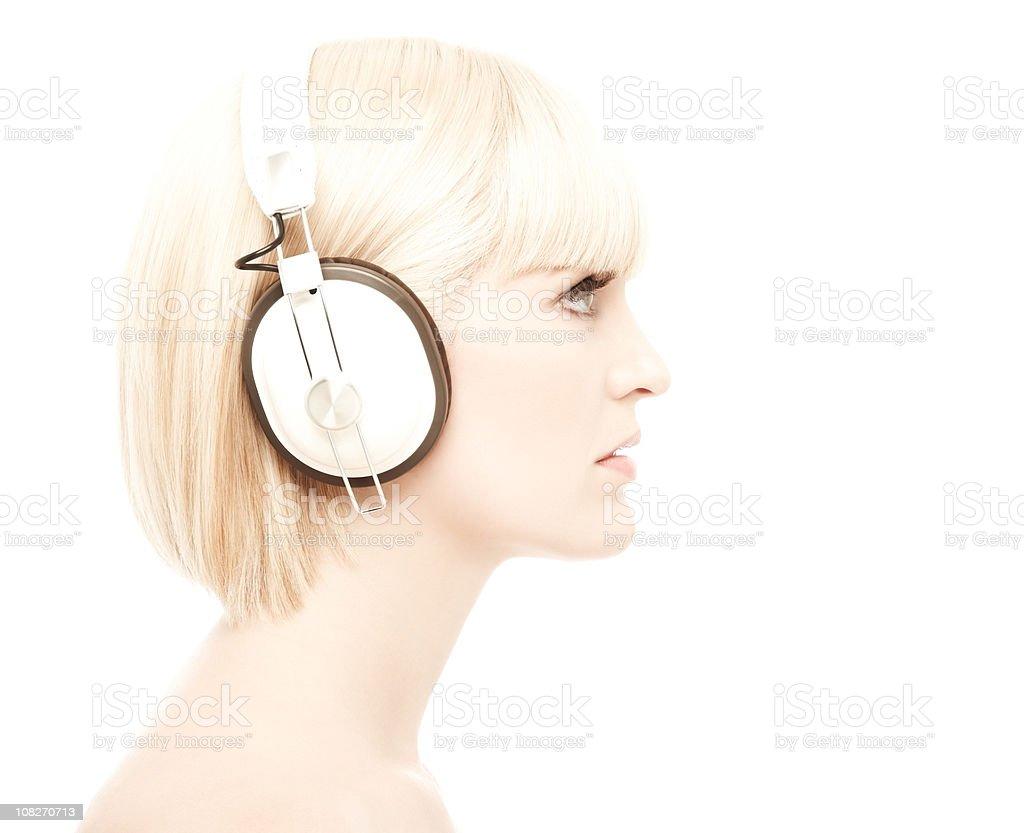 Woman Wearing Headphones royalty-free stock photo