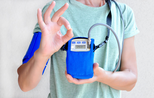 istock Woman wearing holter monitor device for daily monitoring of an electrocardiogram. Health care and disease prevention. 1217422455