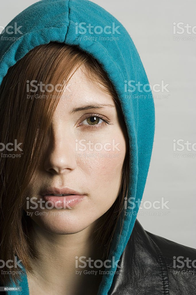 Woman wearing hood royalty-free stock photo