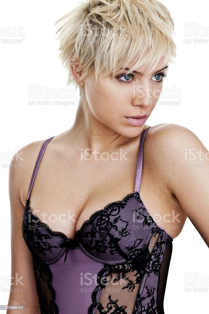 Woman wearing lingerie stock photo
