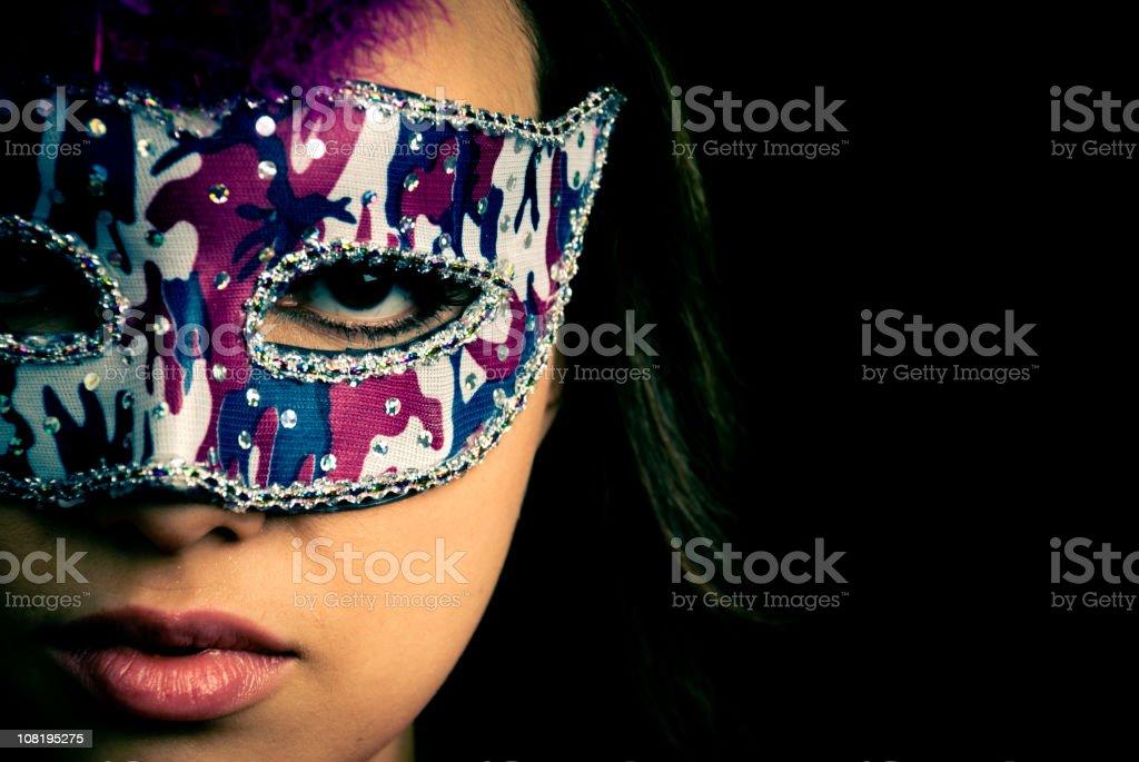 Woman Wearing Mardi Gras Mask royalty-free stock photo
