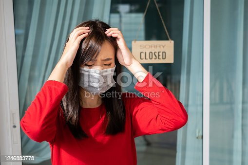 1213432934 istock photo Woman wearing mask closed store with sign board front door shop, Small business come back turning again after the situation is resolved. 1246883778