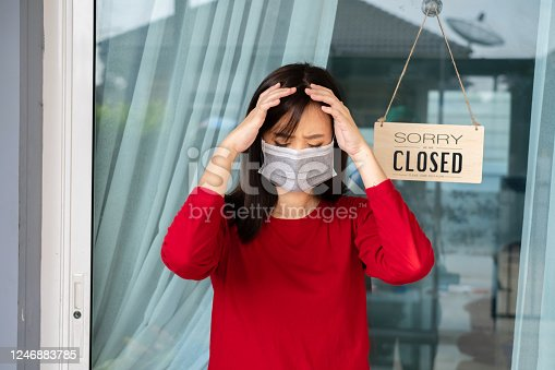 1213432934 istock photo Woman wearing mask closed store with sign board front door shop, Small business come back turning again after the situation is resolved. 1246883785