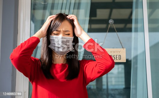 1213432934 istock photo Woman wearing mask closed store with sign board front door shop, Small business come back turning again after the situation is resolved. 1246883789