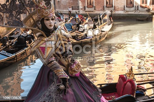 Woman Wearing Mystic Elegant Mask at Carnival in Venice