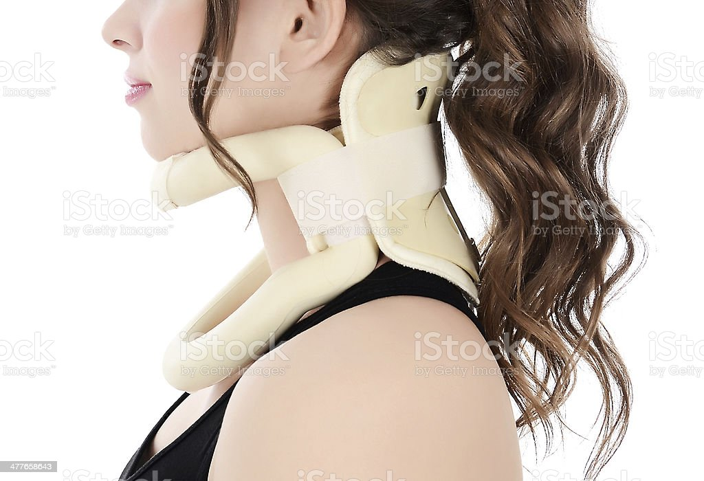 woman wearing neck protector royalty-free stock photo