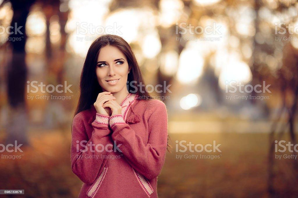 Woman Wearing Peruvian Alpaca Wool Sweater foto royalty-free