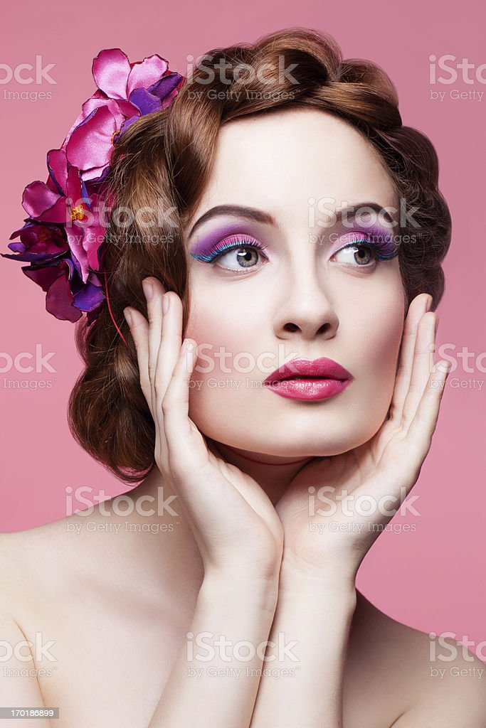 Woman wearing pink hat royalty-free stock photo