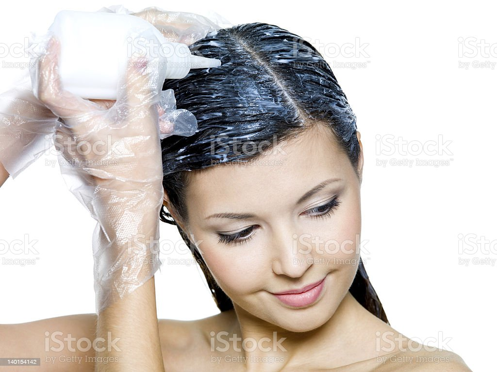Woman Wearing Plastic Gloves Dying Hair Stock Photo More Pictures