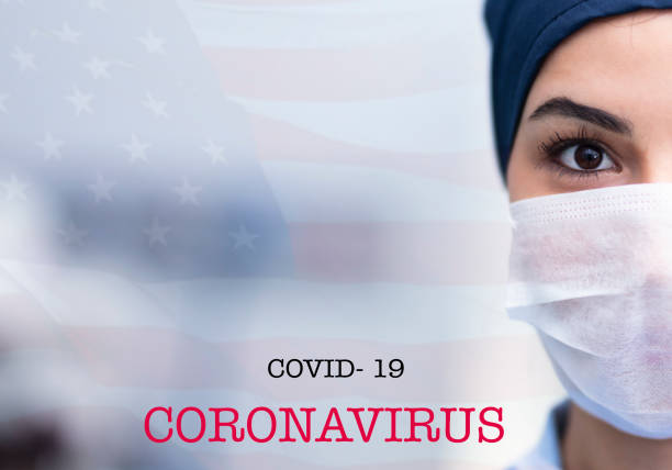 Frau trägt Schutzmaske. Neues Coronavirus Covid-19 aus China – Foto
