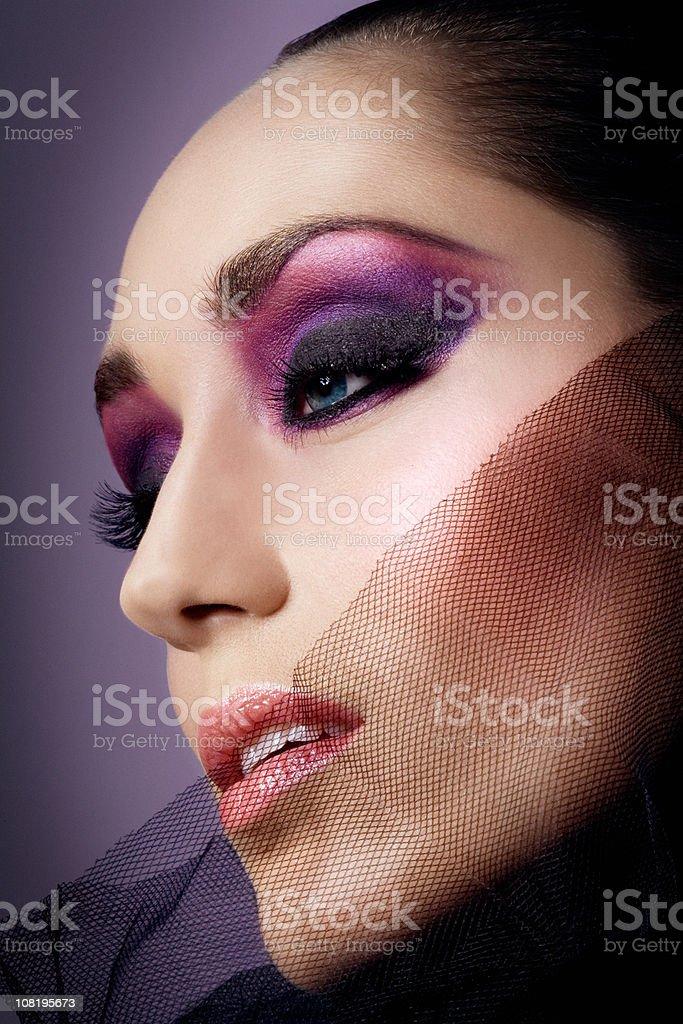 Woman Wearing Purple Make-Up stock photo