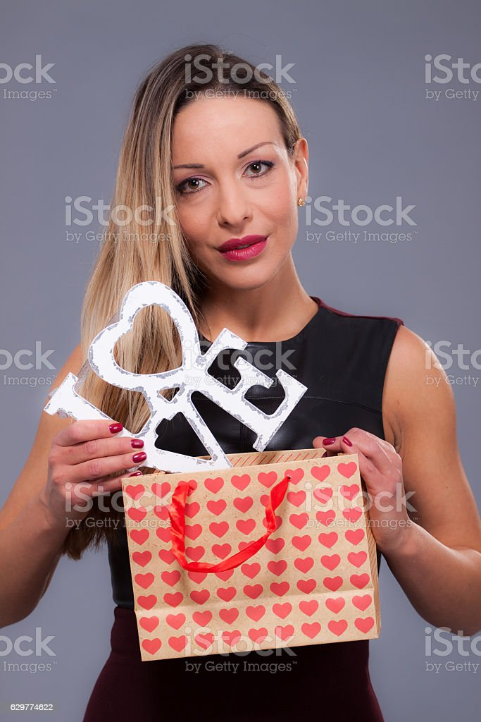 Woman Wearing Red Dress Holding Sign Love Symbol Stock Photo More