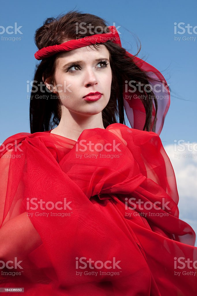 Woman Wearing Red Outdoors royalty-free stock photo