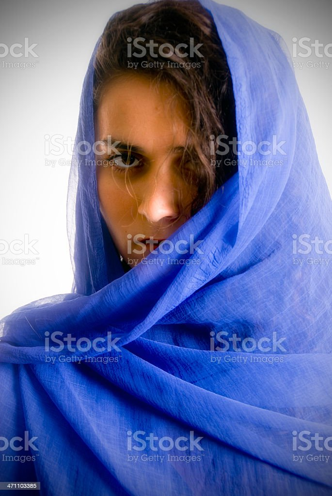 Woman Wearing Scarf stock photo