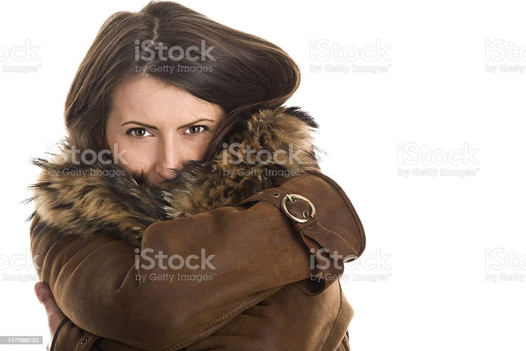 Woman wearing sheepskin royalty-free stock photo