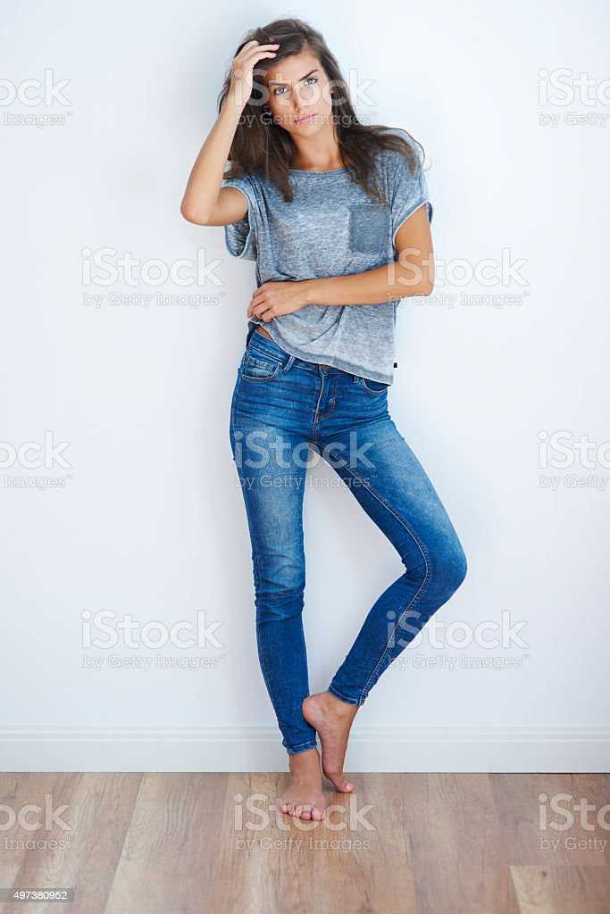 Woman wearing some casual clothes stock photo