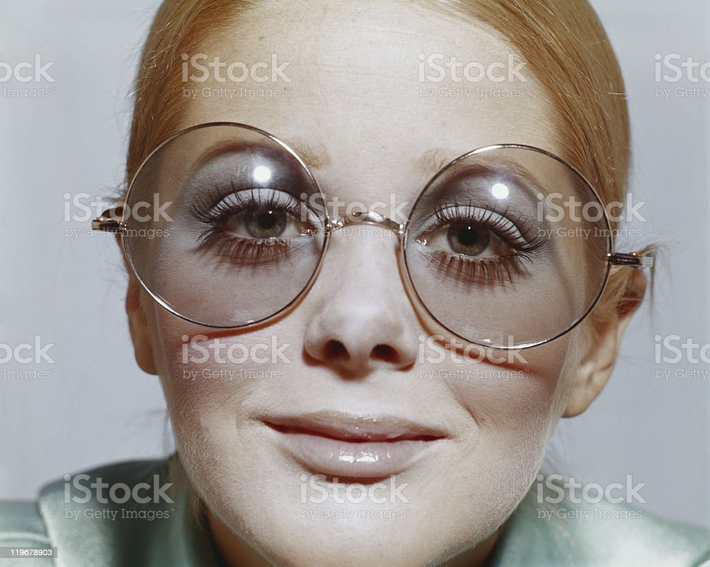 Woman wearing spectacles, portrait stock photo