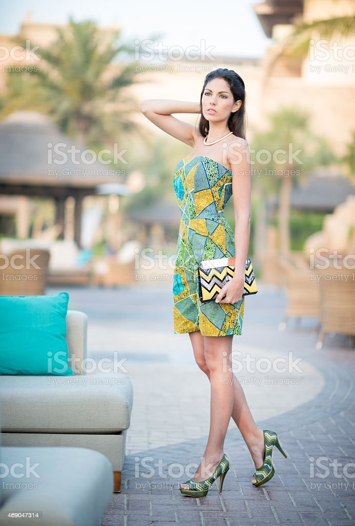 Woman wearing Summer Fashion, Haute Couture stock photo