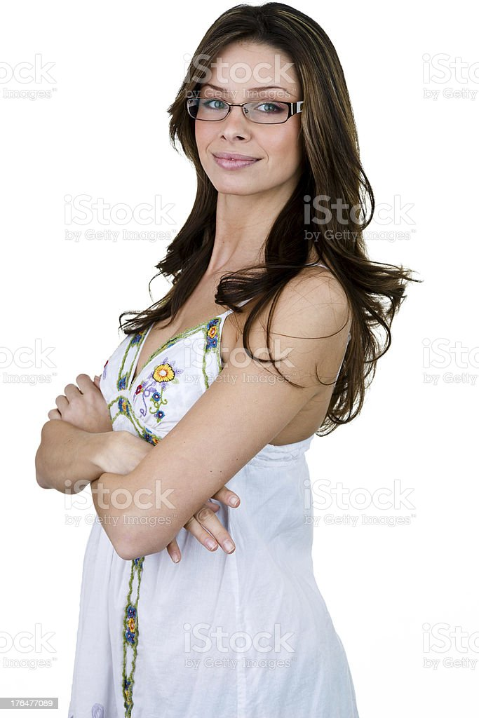 Woman wearing sundress and glasses royalty-free stock photo