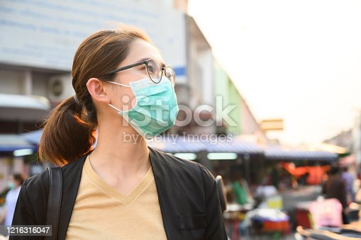 Conceptual of urban lifestyle and using mask for avoid bad environment.