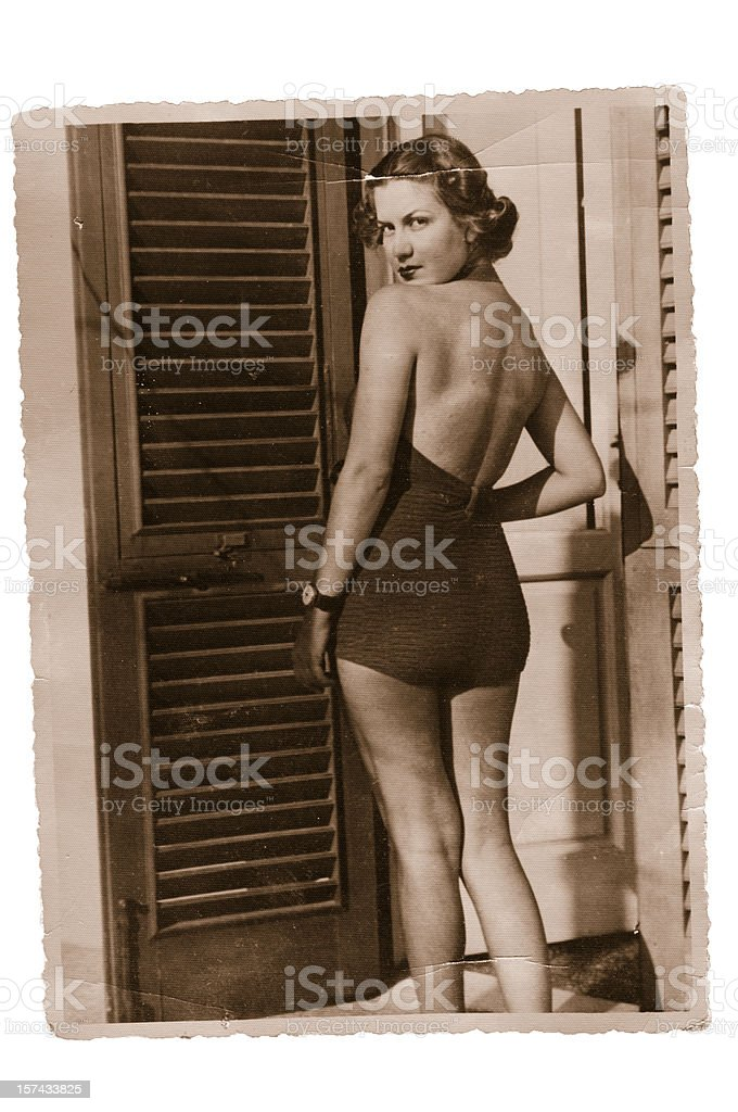 Woman  wearing swimwear in 1935 stock photo