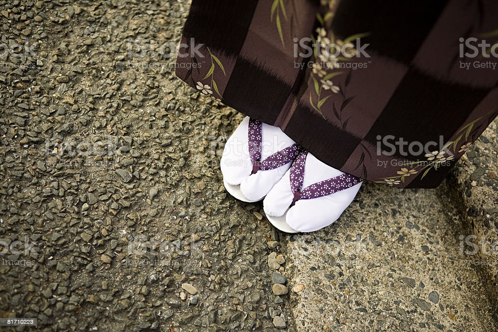 Woman wearing tabi and zori royalty-free stock photo