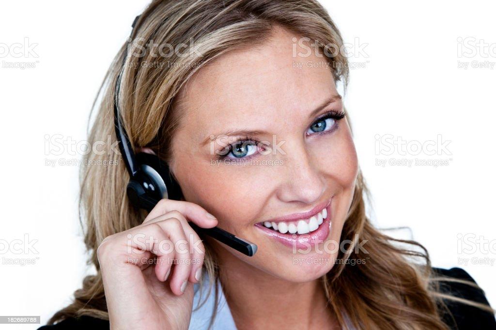 Woman wearing telephone headset royalty-free stock photo