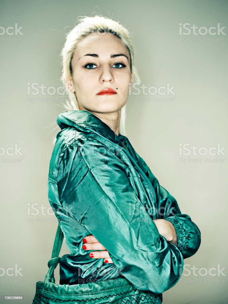 Woman Wearing Track Jacket royalty-free stock photo
