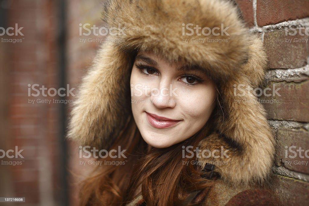 Woman wearing ushanka stock photo