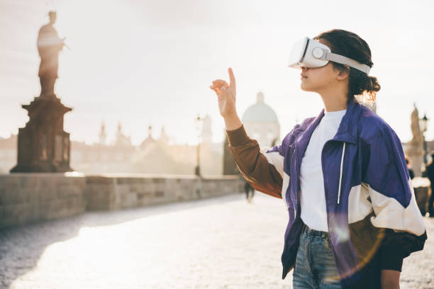 Woman wearing vr headset stock photo