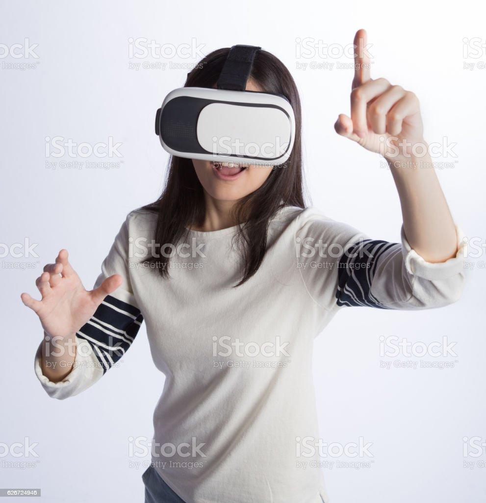 woman wearing VR headset stock photo