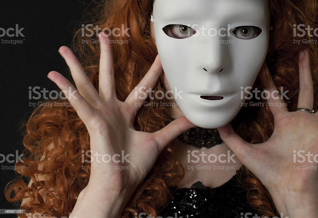 Woman wearing white mask royalty-free stock photo
