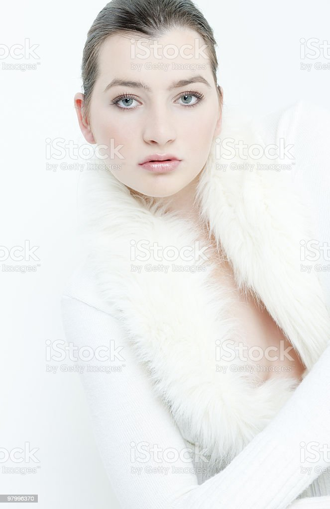 woman wearing white sweater royalty-free stock photo