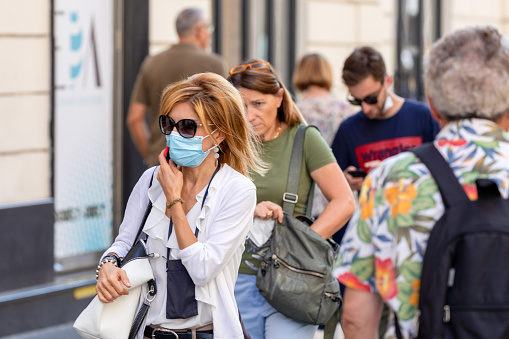 Rome, Italy - September 20, 2020: People walking in the streets of the city wearing protective masks to protect themselves from the Covid-19 pandemic.