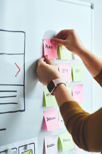 Female web designer planning website ux app development on whiteboard