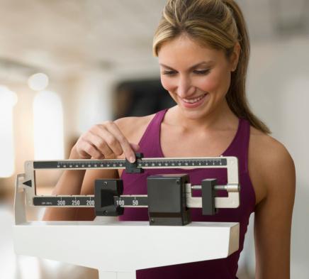istock Woman weighing herself 132264430