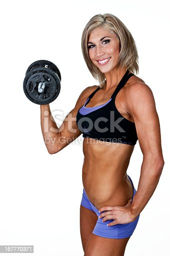 91837830 istock photo Woman weight lifter 157770371