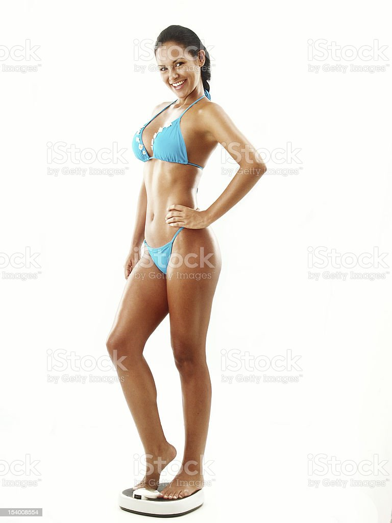 Woman weight scale. royalty-free stock photo