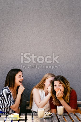 Woman whispering secret at companions ear, gossip together. Female friends sharing time together laughing telling news