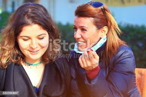 Women said, woman listening to gossip.