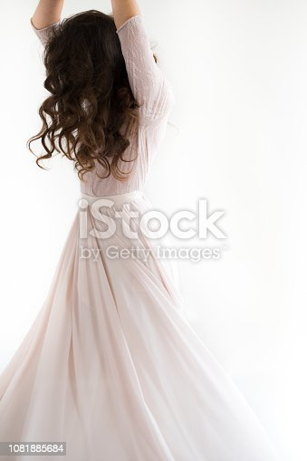 Woman White Dress, Fashion Model in Long Silk Gown, Waving Flying Fabric, Fluttering on Wind