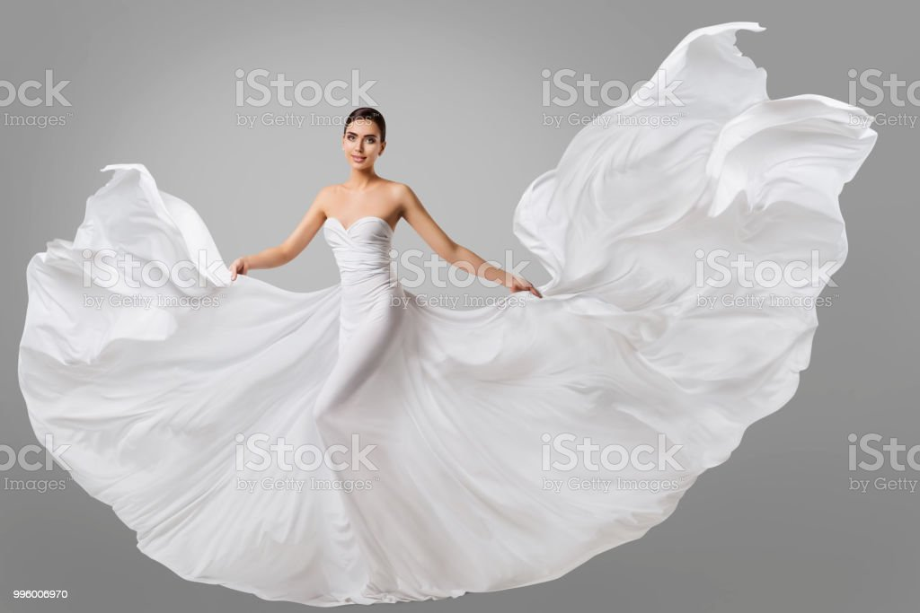 ef5142ff5 Mujer Vestido Boda Moda Modelo En Vestido De Novia Seda Agitando ...