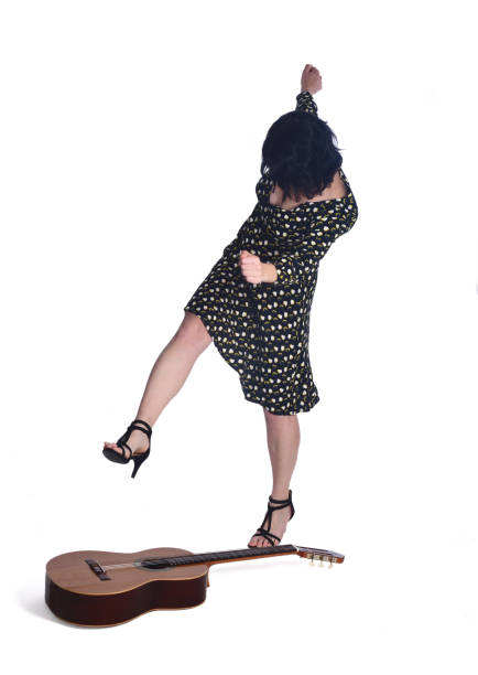 woman who breaks a guitar on white - broken guitar stock photos and pictures