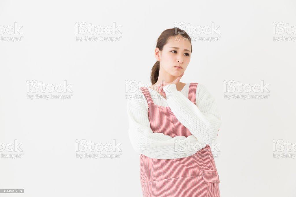 femme qui cuisiniers, pensent, - Photo