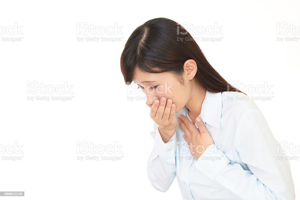 Woman who has a cold stock photo