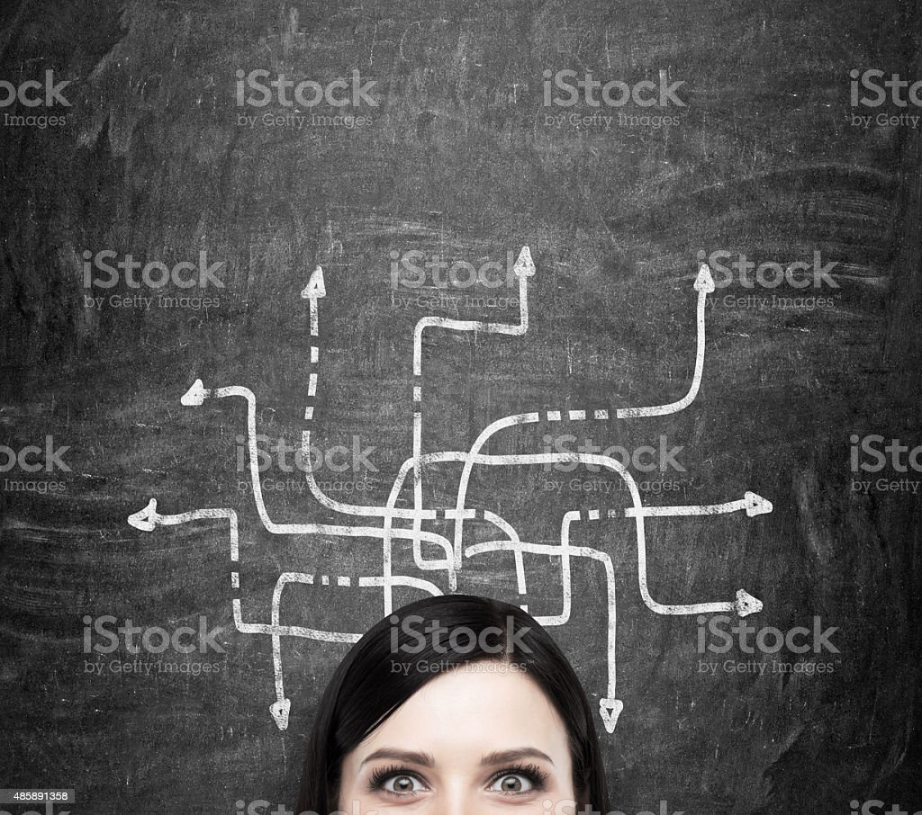 woman who is pondering about possible solutions stock photo