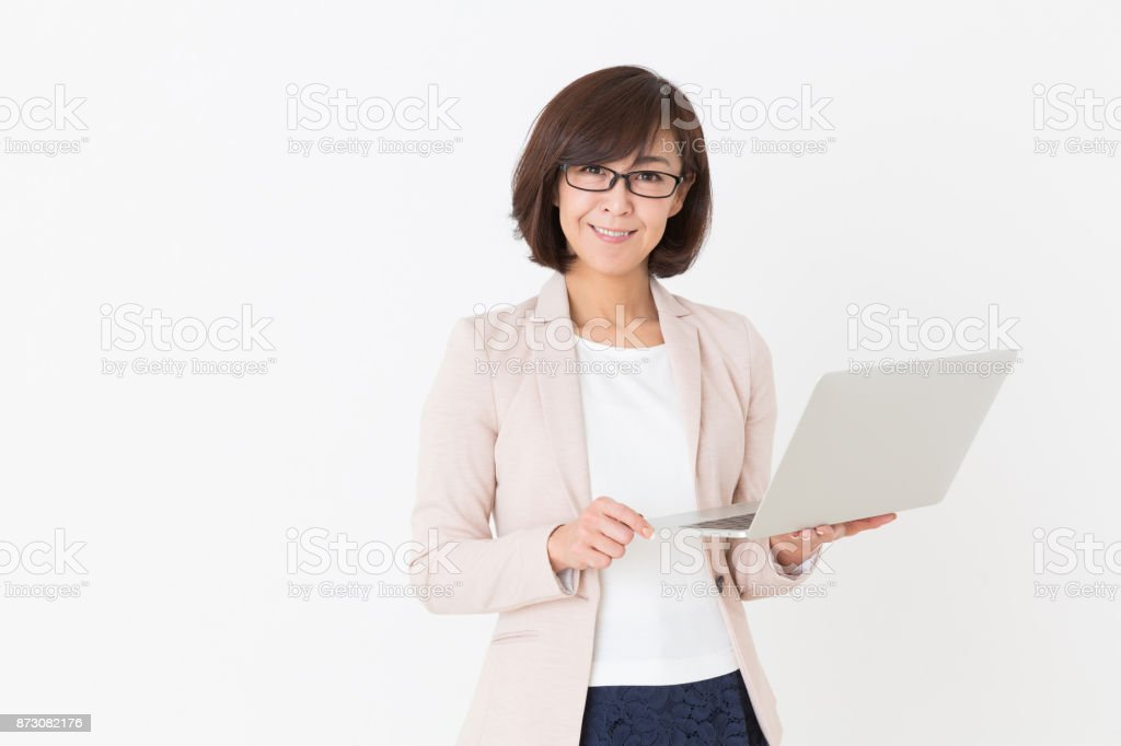 woman who uses laptop, stock photo