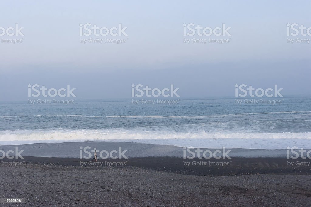 woman who walks the rough shore royalty-free stock photo